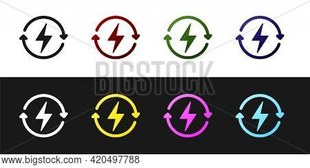 Set Recharging Icon Isolated On Black And White Background. Electric Energy Sign. Vector