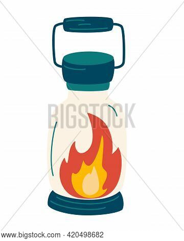 Camping Lantern. Camp Lamp Icon. Retro Gas Lamp With Glowing Fire Wick. For Camping Tourist Hiking.