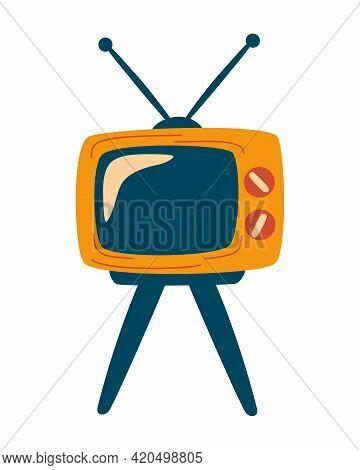 Retro Tv. Television Icon Design. Old Entertainment Television. Tv On Four Legs. Design, Web, Graphi