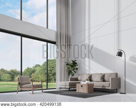 Modern White Living Room With Sunlight Shine Into The Room 3d Render,there Are Empty White Wall ,dec