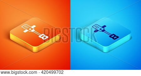 Isometric Electrical Hand Concrete Mixer Icon Isolated On Orange And Blue Background. Handheld Elect