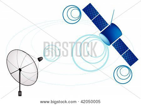An Illustration Of Satellite And Satellite Dish