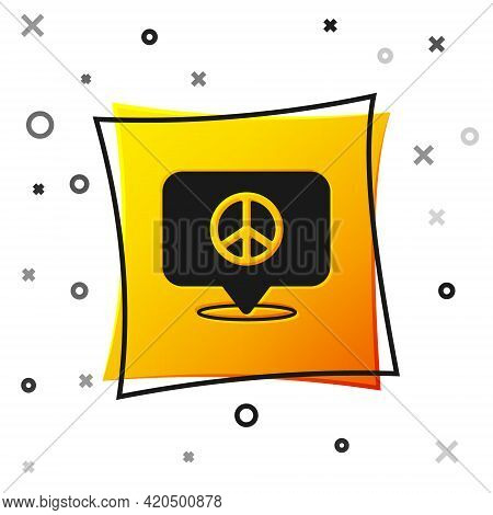 Black Location Peace Icon Isolated On White Background. Hippie Symbol Of Peace. Yellow Square Button