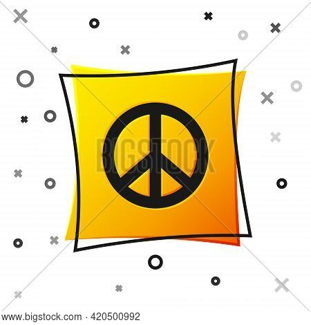 Black Peace Icon Isolated On White Background. Hippie Symbol Of Peace. Yellow Square Button. Vector