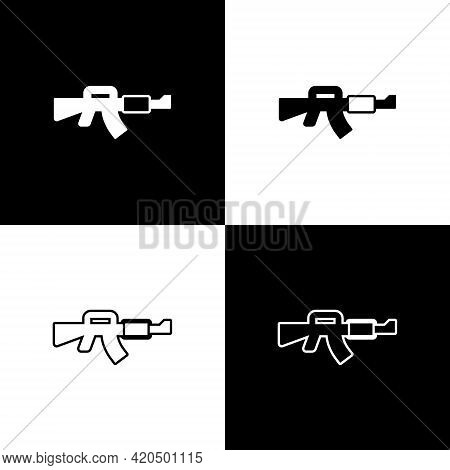 Set M16a1 Rifle Icon Isolated On Black And White Background. Us Army M16 Rifle. Vector