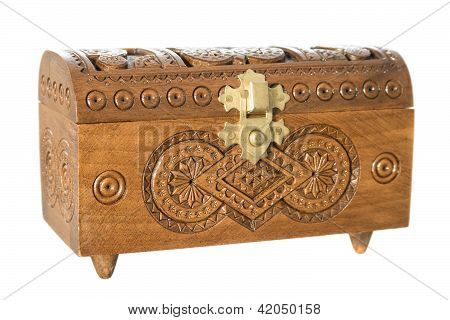 Wooden Casket Decorated With Carvings