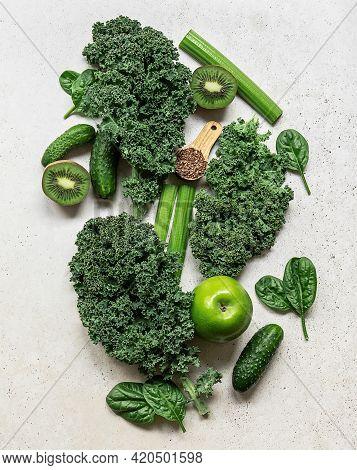 Healthy Green Smoothie Or Salad Ingredients - Superfoods, Detox, Alkaline Diet, Health Or Vegetarian