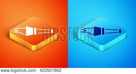 Isometric Torch Flame Icon Isolated On Orange And Blue Background. Symbol Fire Hot, Flame Power, Fla