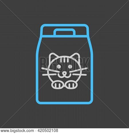 Cat Food Bag Vector Icon On Dark Background. Pet Animal Sign. Graph Symbol For Pet And Veterinary We