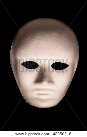 White Full Face Mask on Isolated Black Background
