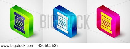 Isometric Declaration Of Independence Icon Isolated On Grey Background. Square Button. Vector