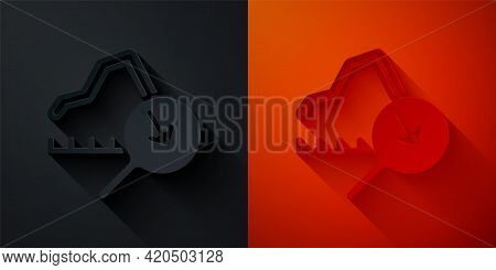 Paper Cut Global Economic Crisis Icon Isolated On Black And Red Background. World Finance Crisis. Pa