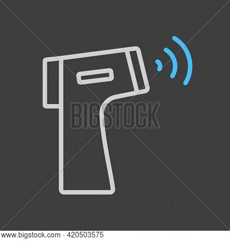 Contactless Infrared Thermometer Vector Icon On Dark Background. Medicine And Medical Support Sign.