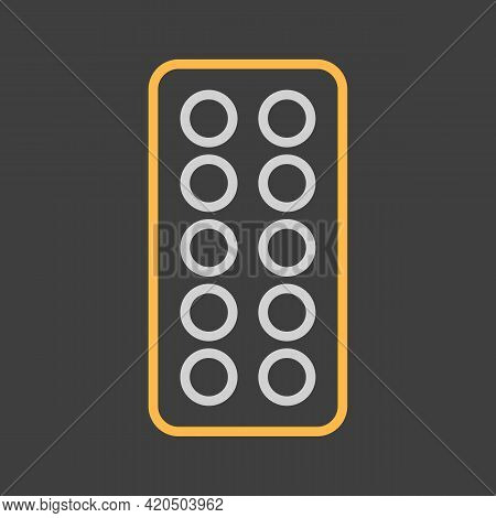 Pills Strip Vector Icon On Dark Background. Medicine And Healthcare, Medical Support Sign. Graph Sym