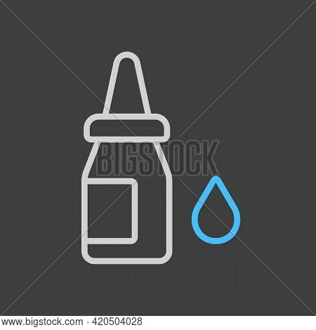 Eye Drops Vector Icon On Dark Background. Nasal Drops. Medicine And Healthcare, Medical Support Sign
