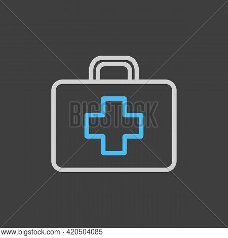 First Aid Kid Vector Icon On Dark Background. Medicine And Healthcare, Medical Support Sign. Graph S