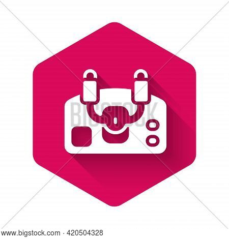 White Aircraft Steering Helm Icon Isolated With Long Shadow Background. Aircraft Control Wheel. Pink