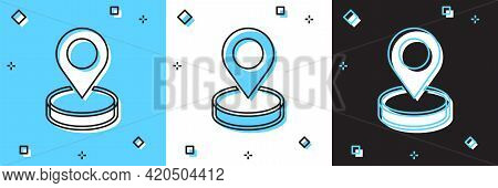 Set Map Pin Icon Isolated On Blue And White, Black Background. Navigation, Pointer, Location, Map, G