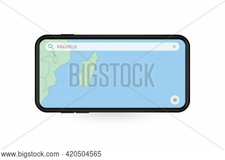 Searching Map Of Mauritius In Smartphone Map Application. Map Of Mauritius In Cell Phone. Vector Ill