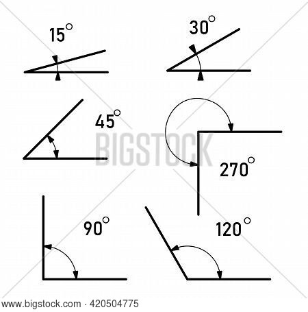 Angles Of Different Sizes. Angles Icons Set. Isolated Math Sign