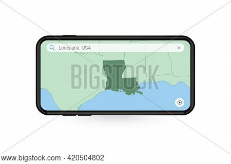 Searching Map Of Louisiana In Smartphone Map Application. Map Of Louisiana In Cell Phone. Vector Ill