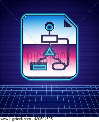 Retro Style Tile Flowchart For Program Design Or Process Management Plan Icon Isolated Futuristic La
