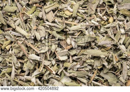 loose leaves of dry sage herb tea, top view of background and texture