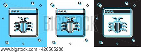 Set System Bug Concept Icon Isolated On Blue And White, Black Background. Code Bug Concept. Bug In T