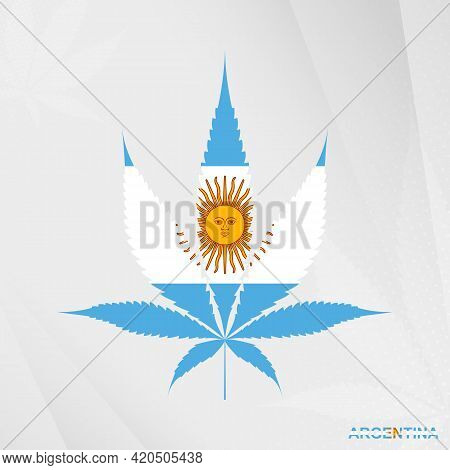 Flag Of Argentina In Marijuana Leaf Shape. The Concept Of Legalization Cannabis In Argentina. Medica