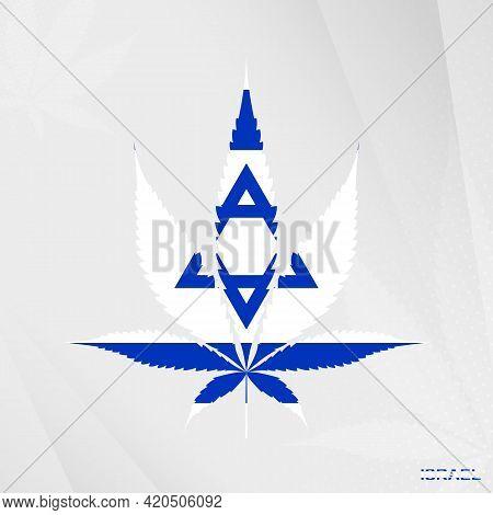 Flag Of Israel In Marijuana Leaf Shape. The Concept Of Legalization Cannabis In Israel. Medical Cann