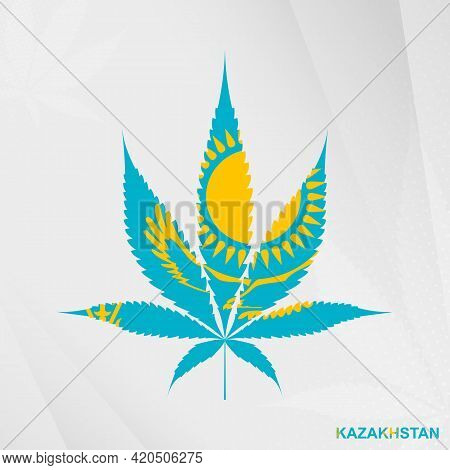Flag Of Kazakhstan In Marijuana Leaf Shape. The Concept Of Legalization Cannabis In Kazakhstan. Medi