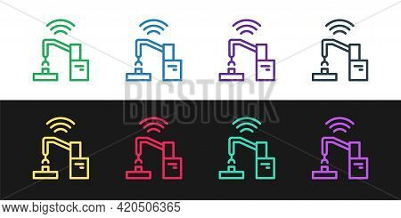 Set Line Industrial Machine Robotic Robot Arm Hand Factory Icon Isolated On Black And White Backgrou