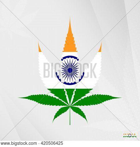Flag Of India In Marijuana Leaf Shape. The Concept Of Legalization Cannabis In India. Medical Cannab