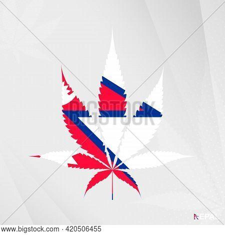 Flag Of Nepal In Marijuana Leaf Shape. The Concept Of Legalization Cannabis In Nepal. Medical Cannab