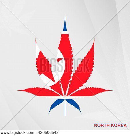 Flag Of North Korea In Marijuana Leaf Shape. The Concept Of Legalization Cannabis In North Korea. Me