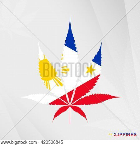 Flag Of Philippines In Marijuana Leaf Shape. The Concept Of Legalization Cannabis In Philippines. Me