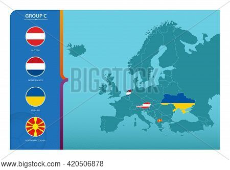 Map Of Europe With Marked Maps Of Countries Participating In Group C Of The European Football Tourna