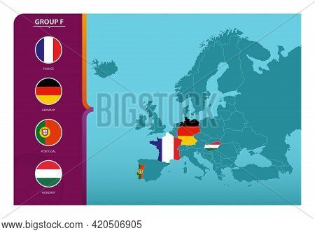 Map Of Europe With Marked Maps Of Countries Participating In Group F Of The European Football Tourna
