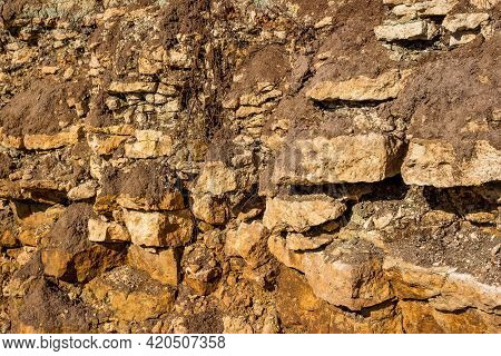 Outcrop Of Limestone Strata To The Day Surface. Sedimentary Rocks Of The Carboniferous Period, Kaluz