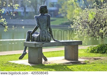 Dublin, Ireland - April 18, 2021: Beautiful Rear View Of The Rendezvous Sculpture At University Coll