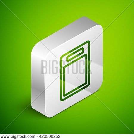 Isometric Line Cutting Board Icon Isolated On Green Background. Chopping Board Symbol. Silver Square