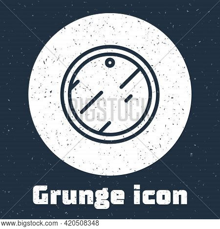 Grunge Line Cutting Board Icon Isolated On Grey Background. Chopping Board Symbol. Monochrome Vintag