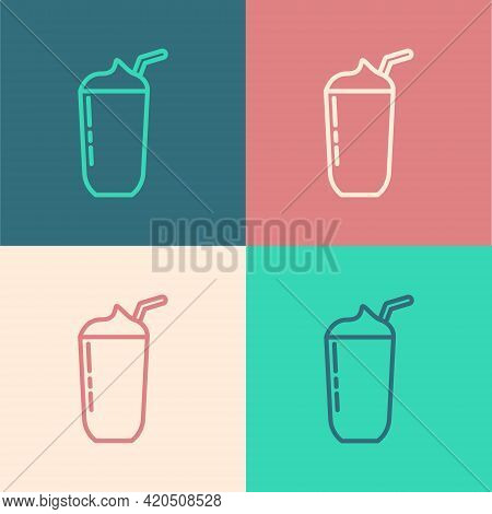 Pop Art Line Milkshake Icon Isolated On Color Background. Plastic Cup With Lid And Straw. Vector