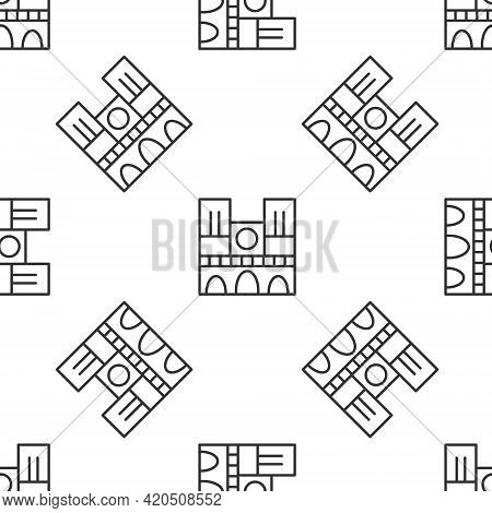 Grey Line Landmark Of France Notre Dame De Paris Icon Isolated Seamless Pattern On White Background.
