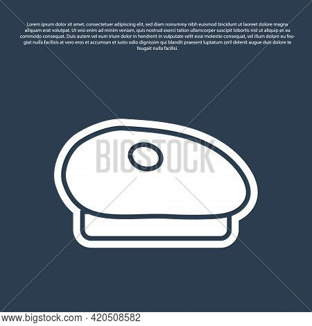 Blue Line French Beret Icon Isolated On Blue Background. Vector