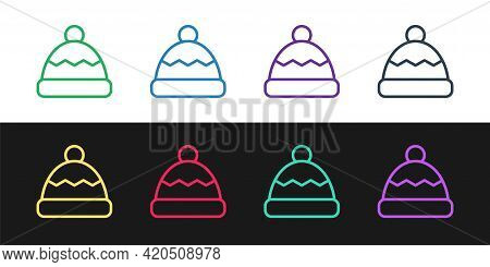 Set Line Beanie Hat Icon Isolated On Black And White Background. Vector