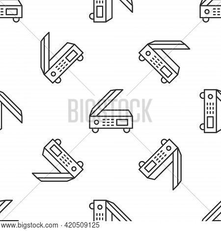 Grey Line Scanner Icon Isolated Seamless Pattern On White Background. Scan Document, Paper Copy, Pri
