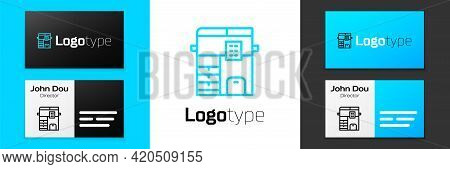 Blue Line Office Multifunction Printer Copy Machine Icon Isolated On White Background. Logo Design T