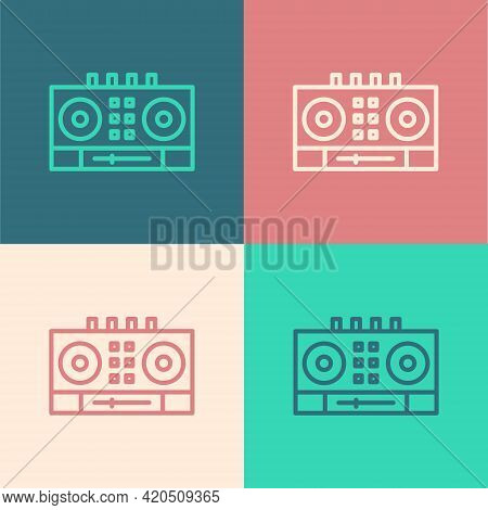 Pop Art Line Dj Remote For Playing And Mixing Music Icon Isolated On Color Background. Dj Mixer Comp