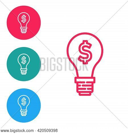 Red Line Light Bulb With Dollar Symbol Icon Isolated On White Background. Money Making Ideas. Fintec